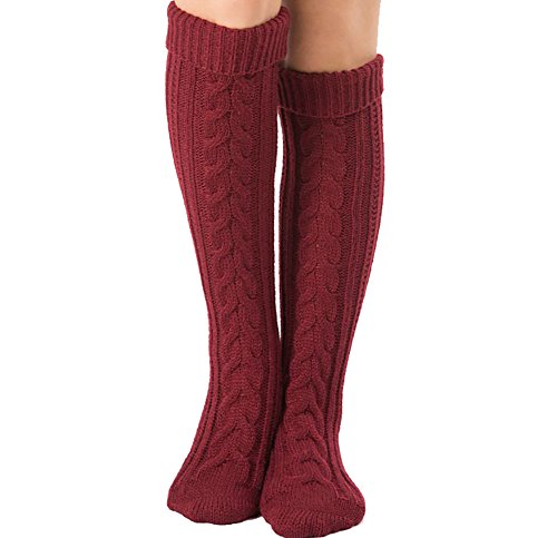 Mujer Calcetines hasta las rodillas, Tukistore Color Puro Calcetines largos de punto elásticos Calcetines altos de la rodilla Medias de piernas Invierno Cubierta de Botas