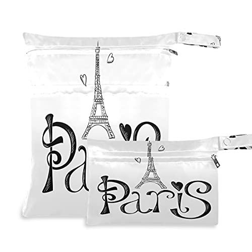 2 bolsas de tela para pañales húmedos y secos, impermeables, de la Torre Eiffel con corazón gris, reutilizables, lavables, para viajes, playa, yoga, gimnasio, para trajes de baño, ropa húmeda