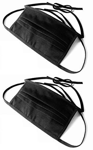 2 Stück, Stoff-Maske, Mund-Nasen-Maske aus 100% zertifizierter, doppellagiger Baumwolle, mit Filtertasche, zum Binden, schwarz | Gesichts-Maske, Unisex, waschbar