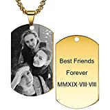 MeMeDIY Personalized Dog Tag Pendant Necklace Engraving Text/Black & White Picture for Men Women Memorial Stainless Steel Jewelry Bundle with Adjustable Chain, Keychain, Silencer (Gold Color)