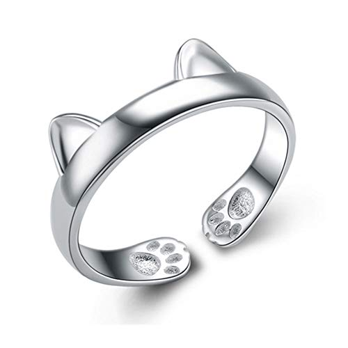 Anillo abierto de oreja de gato, joyería de moda creativa simple linda