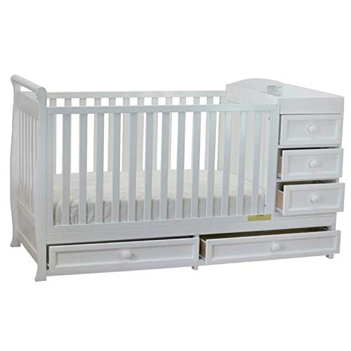 Pemberly Row 2-in-1 Convertible Crib Bed and Baby Changing Table with Storage Drawer Changer Combo in White
