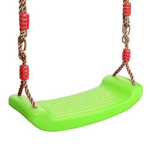 SUWIN Columpio Exterior para niños, Tablero Curvado Grande de plástico Arco Iris, Columpio de un Solo jardín, instalaciones de Entretenimiento en el Interior, Cuerda Ajustable Green