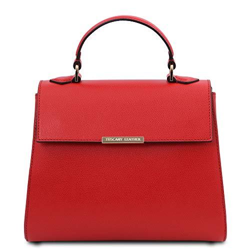 Tuscany Leather TLBag - Bolso a Mano pequeño en Piel - TL142051 (Rojo Lipstick)