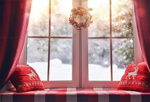 7x5ft Christmas Backdrop Xmas Garland Window Photography Background Snowflake Reindeer Pillow Girl Lovers Artistic Portrait New Year Indoor Photo Shoot Studio Props Video Drop Vinyl Wallpaper