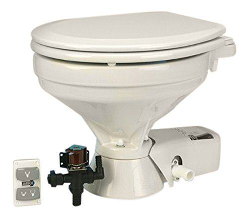 Jabsco 37045 Serie Leise Flush Elektrische Toilette, EMC, Süßwasser, 1 bis 2 Quarts pro Spülung, 37045-1094, weiß, Household Size Bowl