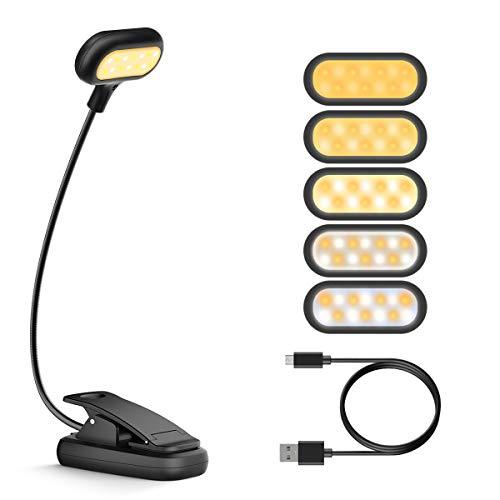Fulighture Leselampe Buch Klemme Buchlampe USB Wiederaufladbar mit 14 LEDs, 10 Helligkeit und 5 Farbtemperatur Flexibel für Nachtlesen, Büro, Buch, Bett