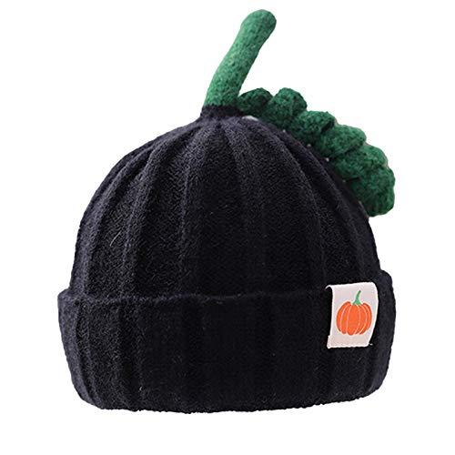 Yao 1 gorro de punto para bebé con patrón de calabaza de invierno para ganchillo (negro).