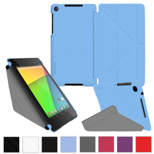 Google Nexus 7 2013 Case, Nexus 7 FHD 2nd Gen Case, rooCASE Origami Slim Shell Lightweight Tablet Stand, Blue