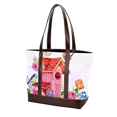 NaiiaN Geldbörse Shopping Handtaschen Leichte Strap Tote Bag Vogelhaus Vögel und Blumen für Mutter Frauen Mädchen Damen Student Umhängetaschen