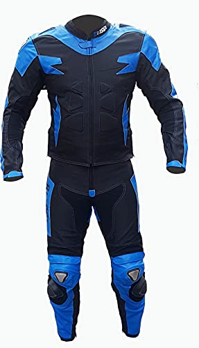 Biesse - Mono de moto para adulto de piel y tejido - Divisible en 2 piezas: chaqueta y pantalón - Ajustable - Tallas desde XS a 4XL - Mono de moto con protecciones CE