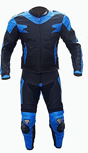 BI ESSE Tuta da MOTO per adulto in pelle e tessuto, divisibile in 2 pezzi giacca e pantalone, regolabile, completa di protezioni CE (Blu/Nero, XL)