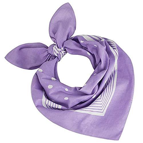 Andouy Bandana Halstuch Paisley Bindetuch Haar Schal Ansatz Handgelenk Verpackungs Band Kopftuch Unisex Mode-Accessoires(55X55CM.Lila)