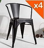 Kosmi - Lot de 4 chaises en métal Noir Style Industriel Factory en métal Noir Mat, Fauteuils industriels avec accoudoirs