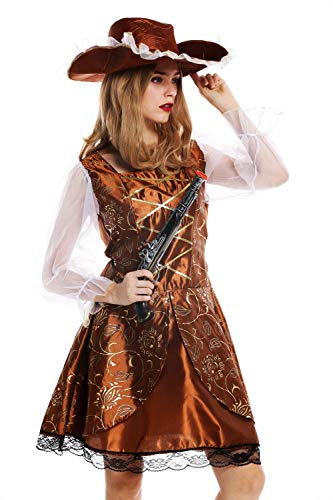 dressmeup - W-0041-S/M Disfraz Mujer Feminino Pirata flibustera bucanera Barroco Talla S/M