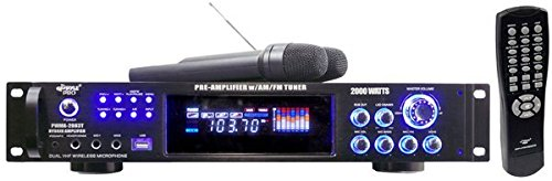 Hot Sale Pyle PWMA2003T 2000W Hybrid Pre Amplifier with AM/FM Tuner/USB/Dual Wireless Mic
