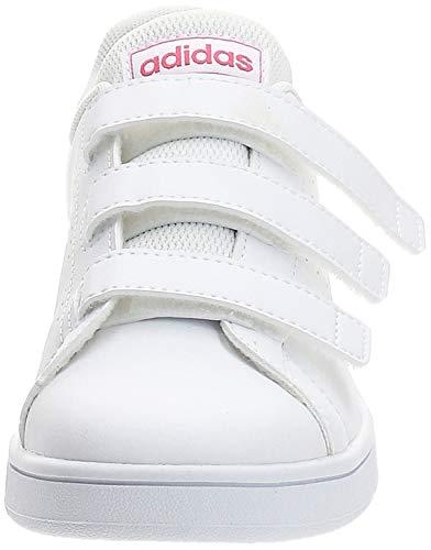 adidas Advantage C, Zapatillas de Tenis Unisex niños, Blanco Ftwbla Rosrea Ftwbla 000, 34 EU