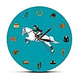 Equipo de Deporte Ecuestre Set Modern Wall Clock Equitación Equipo de Equipo Accesorios Reloj de Pared Equestrianismo Caballo Amante Regalos-Sin Marco