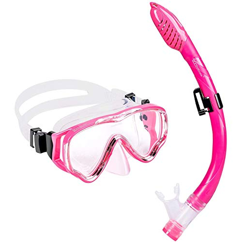UPhitnis Kids Snorkel Set - Dry Top Snorkel Mask with Big Eyes for Childs, Boys, Girls - Anti-Fog and Anti-Leak Snorkeling Mask and Snorkel for Children Age 4-12