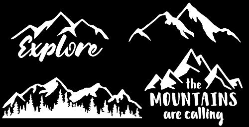 CCDecals Mountain Decal 4 Pack: Explore, Mountains are Calling, Simple and Detailed Mountain Silhouette (Mountain White)