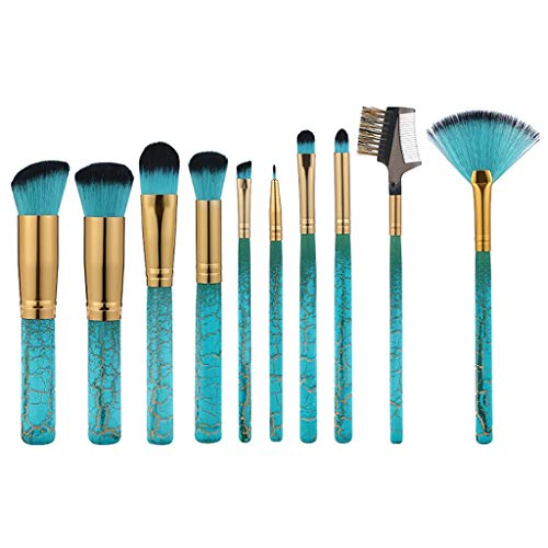 Feifish Pinceaux de Maquillage Set de 10pcs Fibre Synthétique Douce pour Application Uniforme de Blush, Crèmes, Liquides, Poudres & Contouring Makeup Brushes
