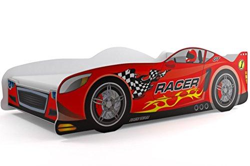 Lit simple en forme de voiture Cars, pour enfants, Rouge, 160x 80 cm, avec matelas de 7cm inclus dans le prix