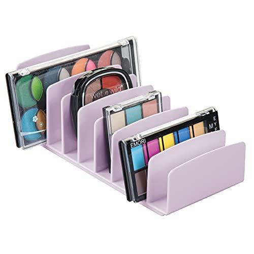 mDesign Organizador de Maquillaje de plástico sin BPA – Bandeja de Maquillaje con 9 Compartimentos Verticales – Organizador de cosméticos para Lavabo, tocador o Armario – Lila Claro