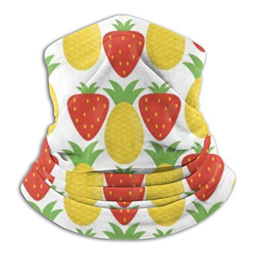 Uosliks Neck Scarf Pineapple And Strawberries Fresh Fruits Pattern 26cm X 30cm Sports Casual Headband Gaiter Outdoor Magic