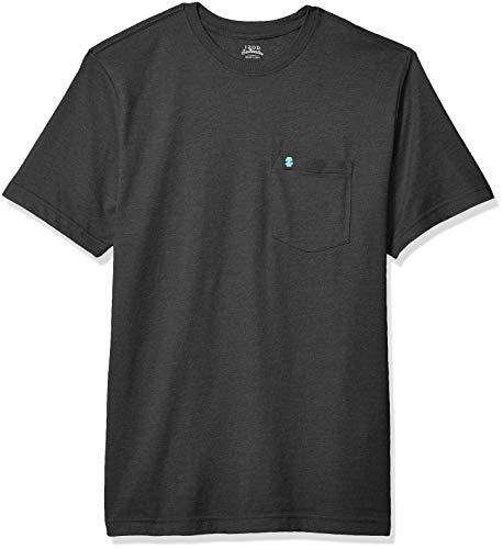 IZOD mens Saltwater Short Sleeve Solid T-shirt With Pocket T Shirt, Black, XX-Large US
