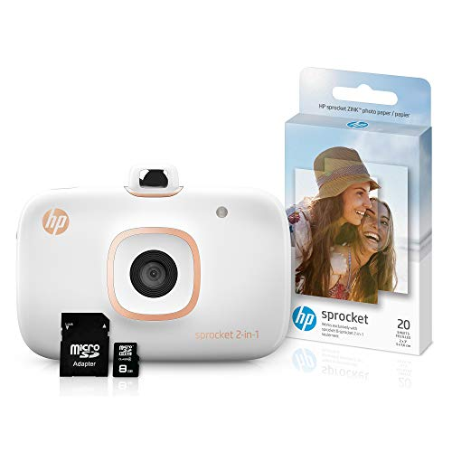 HP Sprocket 2-in-1 Portable Photo Printer & Instant Camera Bundle with 8GB microSD Card and Zink Photo Paper – White (5MS95A)