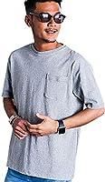 (キャバリア)CavariA メンズ 半袖 Tシャツ ビッグT クルーネック ビッグシルエット 無地 CAJP18-06 44(M) GRY(グレー)【+】