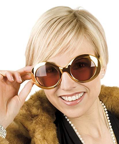 TH-MP 60er 70er Jahre Partybrille Gold metallic XXL Shades Kostüm Zubehör Outfit Accessoire Sonnenbrille