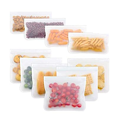 Reusable Storage Bags 10 Pack Leak Proof Freeze...