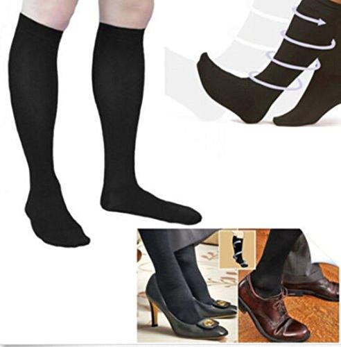 CareforYou® Chaussettes de compression anti-fatigue pour les voyages et l'avion, aide à dynamiser les jambes fatiguées, douloureuses et gonflées, favorise la circulation (L/XL, Noir)