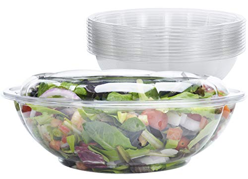 Large Salad Bowls with Lids [10 Pack - 64 oz.] - Disposable Clear Plastic Family-Size Containers for Salads, Snacks and Cold Side Dishes. Perfect for Picnics or as a To-Go Serving Bowl