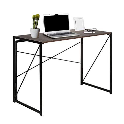 hjh OFFICE 634747 Schreibtisch klappbar Easy UP Multi 100 x 50 cm Holz Walnuss/Schwarz Computer Klapptisch mit Metallgestell
