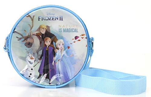 Disney Frozen II Beauty Fashion Bag – Umhängetasche mit Reißverschluss enthält Schmuck und wasserlösliche Kinderschminke für Augen, Lippen und Nägel