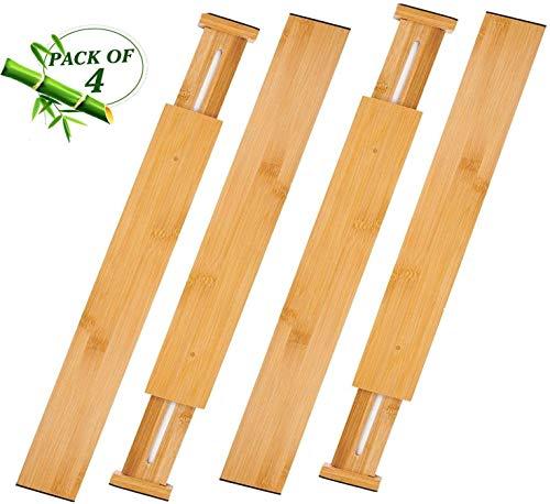 Schubladenpartition,Schubladentrenner,aus 100% Bio-Bambus - Am besten für Küche, Kommode, Schlafzimmer, Baby Schublade, Bad, Schreibtisch. (4er-Set)