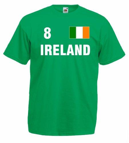 World-of-Shirt Herren T-Shirt Irland/Ireland Trikot Fan Shirt Nr.8|g-m