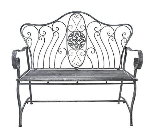 DARO DEKO Metall Sitz-Bank 125cm grau-weiß