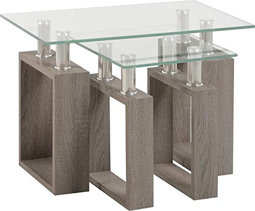 Seconique Milan Coffee Table in Light Charcoal/Clear Glass/Silver (Nest of Tables)