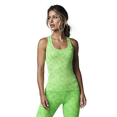STRONG by Zumba Aktiv Slim Fit Oberteile Sportliche Workout Tank Top Damen Tanque, Neon Green, X-Small Mujer