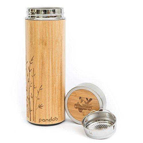 Pandoo Tea to-go Termo de bambú, botella térmica de doble pared, termo de viaje, termo para té, botella de agua con colador de té de acero inoxidable sin BPA