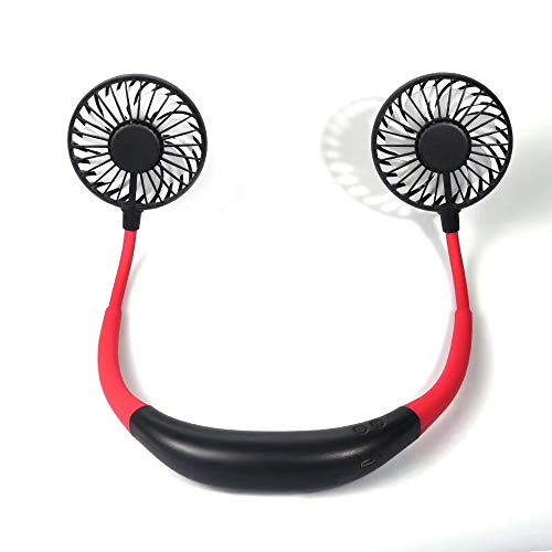 Neck Fan Oplaadbare Outdoor Sports Portable Lazy Fan Hands-Free Opvouwbare Opknoping USB Fan Rotating kleine ventilator, binnen en buiten met kleurrijke verlichting,Black