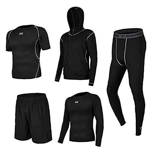 Männer Trainings-Kleidung Outfit Fitness Bekleidung Gym Laufen Outdoor Compression Hosen Hemd Top Langarm Jacketrunning Kit Anzug Für Sport-schwarz-s 5pcs