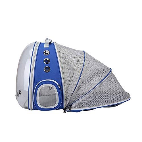 DIYARTS Mochila para Mascotas Mochila para Mascotas Transparente Panorámica Correa para El Hombro Extensible Bolsa para Gato Agujeros De Ventilación Múltiples Tres Colores Disponibles (Blue)