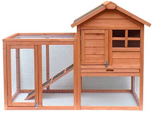 Merax Pet Rabbit Hutch Bunny Cage Wooden House Chicken Coops, Orange