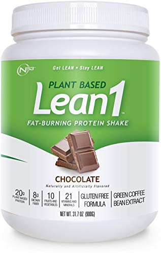 LEAN1 Nutrition 53 Meal Replacement Powder for Weight Loss, Fat Burner, Appetite Control, Plant Based Chocolate (31.7 Ounce)