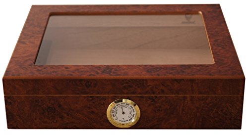 GERMANUS Sigari Humidor 'Mensalla' Con Igrometro e Umidificatore e GERMANUS Manuale Marrone Scuro