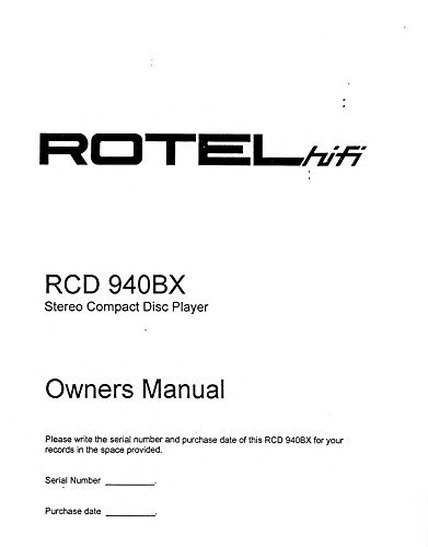 Rotel RCD-975 CD Player Owners Instruction Manual Reprint [Plastic Comb]